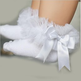 Wholesale Child Lace Ruffle Socks - NEW Baby girls socks autumn children breathable short ankle bow sock kids toddler cotton lace ruffle princess mesh socks 10pairs 20pieces