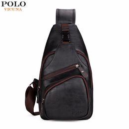 Wholesale Mens Fashion Shoulder Bags - VICUNA POLO Extra Large Size Fashion Mens Shoulder Bag Burglarproof Snapper Black Leather Mens Messenger Bag Travel Chest Bag