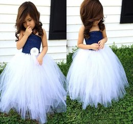 Wholesale Navy Blue Little Girls Dress - Navy Blue and White Flower Girl Wedding Tutu Dress A Line Floor Length pageant Gown for little Girls Kids communion Dress 2016 Fashion