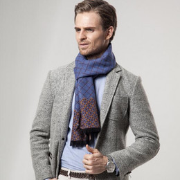Wholesale Male Cashmere Scarf - Winter Designer Scarf Men Striped Cotton Scarf Male Brand Shawl Wrap Knit Cashmere Bufandas Plaid Scarf with Tassels High Quality