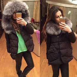 Wholesale Large Hooded Jackets Women - Women Large Faux Fur Collar Hooded Cotton Padded Jacket Winter Hooded Down Coat Fur Collar Outerwear