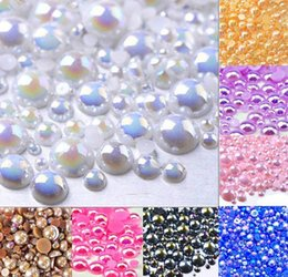 Wholesale Flatback Pearls Mixed Sizes - Bright White AB Half Round Pearls,Flatback Pearls,Mix Sizes 2mm-10mm ABS Imitation Pearl Beads AB Color For DIY Decoration