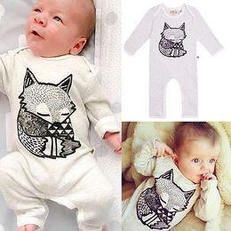 Wholesale Korean Jumpsuit Rompers - Newest Cartoon Fox Long Sleeve Print Rompers Korean Pure Cotton Jumpsuits Infant Toddlers Ins Fashion Bodysuits