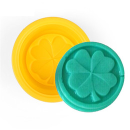 Wholesale Silicone Leaf Mold - 500pcs Four Leaf Clover Flower Cake Mold Silicone Handmade Soap Mold 3D Soap Molds DIY Crafts Mold Baking Tools ZA0588