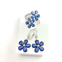 Wholesale B 925 China - deep blue Zircon Jewelry Sets 925 Silver Earrings Pendant Rings Size  7 8 9 For Women Free Jewelry Box B