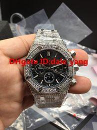 Wholesale Diamond Watch Band Men - Luxury 42mm Full diamond Quartz man watch diamond band Quartz Stainless steel men's watches