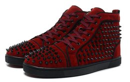 Wholesale Media Matters - wholesale 2017 New Red bottom sneakres Arrival mens black matter leather with black spikes high top sneakers,designer men causal sports