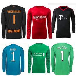 Wholesale Men Long Sleeve Tops - 17 18 long sleeve goalkeeper soccer jersey 2017 2018 DE GEA NEUER buffon WEIDENFELLER goalkeeper football shirts top quality