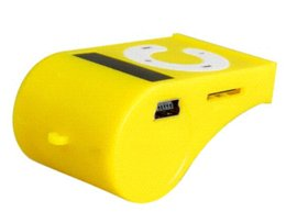 Wholesale Mp3 Codes - Whistle Shaped MP3 Player with TF Card Reader (Yellow) Free Shipping 1PCS player code mp3 ereader