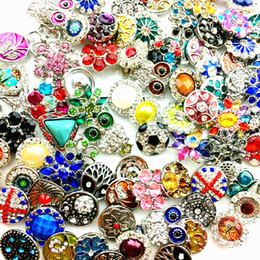 Wholesale Bulk Rhinestone Bracelets - wholesale Bulk Lots Mixed Styles 18mm Snap Buttons Charm Chunk Ginger Interchangeable copper alloy Snaps Jewelry Brand New Hot Sale
