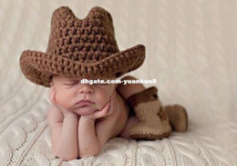 Wholesale Crocheted Cowboy Boots - Newborn Baby Photography Prop Crochet Knitted Cowboy Hat Star Boots Boy Costume animal backpack