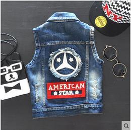 Wholesale Jacket Jeans Kids Boy - Wholesale baby clothes boy autumn 2016 casual jeans denim vests waistcoats jacket kids sleeveless no fade