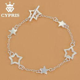 Wholesale Silver Rolo Bracelet Chain - Wholesale-CYPRIS Star Bracelet BEST SELLING silver rolo chain bracelet women popular style chic lady women gift girl friend jewelry