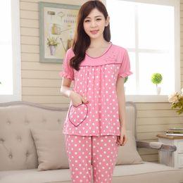 Wholesale Ladies Plus Size Pyjamas - Wholesale- Ladies Modal Pajama Set Plus Size 4XL Pyjamas Set Short-sleeve Pijama Set O-neck Sleepwear Summer Home Wear Sleep Wear For Women