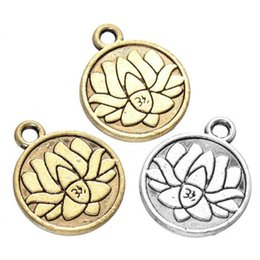 Wholesale Meditation Free - 200 pcs Lotus Charms Yoga Meditation Antique Silver & gold Small Lotus Charm TierraCast Lead Free Pewter 18mm x 15mm