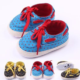 Wholesale Toddlers Yellow Shoes - 2016 Canvas Children Shoes Lace-up Red Polka Dot Yellow Star Soft Sole Anti-slip Wholesale Toddler Baby Sport Shoes