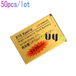 Wholesale Battery Bst - 50pcs lot 2430mAh Gold Replacement Battery For Sony Xperia X10 BST-41 XPERIA X1 X2 A8i M1i Xperia PLAY Z1i R800 Batteries Batteria Batterij
