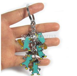Wholesale Phineas Ferb Figures - 100pcs lot Anime Cartoon Phineas and Ferb Keychains Metal Figures Pendants Key Chains 1206#06