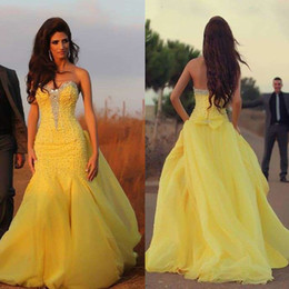 Wholesale Brilliant Trumpet - Brilliant Mermaid Evening Dresses 2017 Sweetheart Sleeveless Backless Sweep Train Prom Dresses Plus Size Beaded Yellow Arabic Dresses