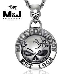 Wholesale Silver Biker Necklace - WITH RANDOM Gift Chain HD style Biker establish 1903 skull stainless steel pendant fine jewelry STP-5004