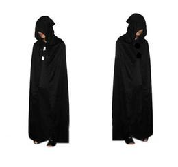 2020 costume fedex 2016 HOT Costume di Halloween tessuto a maglia Theatre Prop Death Hoody Mantello Devil Long Tippet Cape Black Free FedEx DHL costume fedex economici