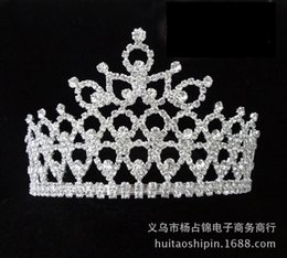 Wholesale Black Feather Headpieces - New Gorgeous Sparkling Crystal Miss Universe Pageant Tiaras Large Crowns Clear Rhinestone Headpiece Wedding Bridal Prom Party Costum
