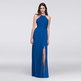 Wholesale Open Back Gold Wedding Dresses - Open-Back Lace and Chiffon Bridesmaid Dress F19608 Halter Neckline Long Wedding Party Dress vestidos de fiesta largos