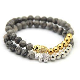 Wholesale White Elephant Jewelry - 2016 New Design Jewelry 6mm Blue Veins, Bronzite, White Howlite, Grey Jasper Stone Micro Inserts Zircon Elephant Lucky Bracelet