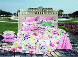 Wholesale Magenta Comforter Set - Premium Cotton multicolor flower magenta floral pattern Soft Printed 4 pcs Queen Comforter Duvet Covers bedding sets with sheets
