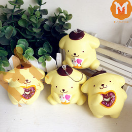 Wholesale Dogs Decoration - Wholesale-9CM Jumbo 2 Styles Cute Pompom Purin Dog Cafe Squishy Charm   Bag Decorations   Decompression Toys With Tag
