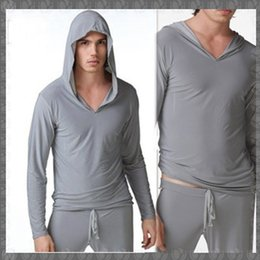 Wholesale Sexy Robe Men - Wholesale-Free Shipping N2N yoga Wear Mens Sexy Pajamas Sleepwear Male Robe Masculino Yoga Shirt Casual Wear Hooded Silky Polyester