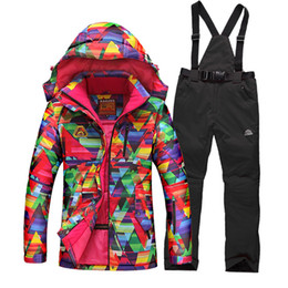 Wholesale Snowboards Jacket Men - Wholesale-HOT SALE 2016 womens ski suit WATERPROOF mountain skiing jacket and pant snowboard suit thicken thermal cotton-padded coats