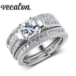 Wholesale Gold Diamond Wedding Sets - Vecalon Full Princess cut 10ct Simulated diamond cz 3-in-1 Engagement Wedding Band Ring Set for Women 14KT Gold Filled ring