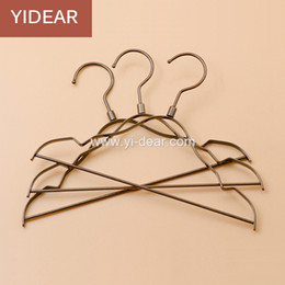 Wholesale Kids Pants Clothes Hangers - Yidear 29.5cm vintage small children hanger flat metal wire hangers with notches for kids clothes store