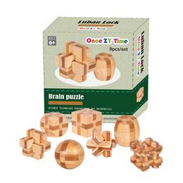 Wholesale wholesaler wooden iq toys - 7pcs lot 3D Eco-friendly bamboo wooden toys IQ brain teaser burr adults puzzle educational kids unlocking games
