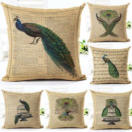 Wholesale Vintage White Pillowcases - 13 style Printing Pillow Cover Vintage Page Peacock Pattern 17.7x17.7 inch Cotton Linen Throw Pillow Cushion Case Home Decorative Pillowcase