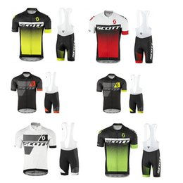 Wholesale Scott Cycling Bib Sets - Hot New 2017 SCOTT Cycling Jersey Short Sleeve Summer Men Cycling Clothing+ Cycling Bib Shorts Set Maillot Bike Clothes