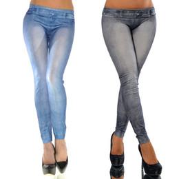 Argentina Use blanco para mujer Leggings sin costuras Denim Leggings Denim era delgado Pantimedias manchado Leggings Pantalones Pies FG9063BK Suministro