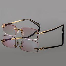 Wholesale Diamond Trim - Wholesale-2015 Phantom trimming titanium eyewear male models diamond trimming Gold rimless finished prescription Frame glasses for Men