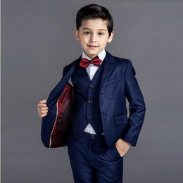 Wholesale Kids Suits For Weddings - 2016 new arrival fashion baby boys kids blazers boy suit for weddings prom formal black navy blue dress wedding boy suits