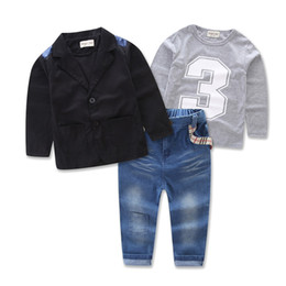 Wholesale Suits Coats T Shirt Pants - Spring Autumn Europe Boys 3pcs Clothing Suit Baby Kids Cotton T-shirt + Jeans Pants + Outwear Coat Children Outfits Clothes