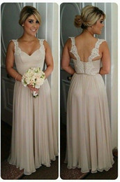 Wholesale Gold Trim Ribbon - 2016 Lace Open Back Bridesmaid Dresses V Neck Lace Trimming Chiffon Zipper Buttons Bridesmaid Prom Gowns