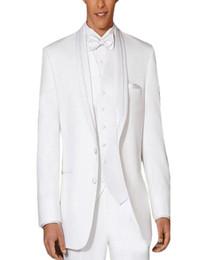 Wholesale Ceremony Suits Men - Wholesale-Custom Made Men's Pure White Wedding Ceremony Suit Groom Suit Formal Occasion Party Suit Groomsman (jacket+pants+vest+tie)