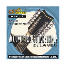 Wholesale Guitars 12 String Acoustic - A2012 12 Strings Acoustic Guitar Strings 010-026 Musical Instrument Guitar Parts Accessories 12 Guitarrra Strings 1 Set