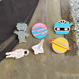 Wholesale Party Robots - Astronaut Robot Planet Space Shuttle Universe Warfare Brooch Pin New Cartoon Rabbit and Cat Cute Metal Enamel Brooches Pins Badge