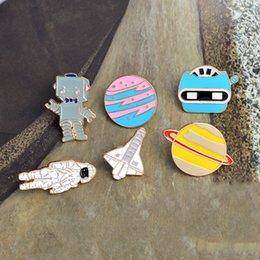 Wholesale Cute Robot Cartoon - Astronaut Robot Planet Space Shuttle Universe Warfare Brooch Pin New Cartoon Rabbit and Cat Cute Metal Enamel Brooches Pins Badge