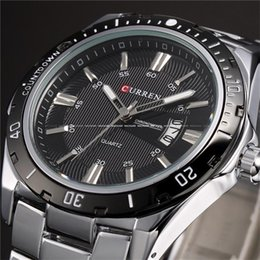 Wholesale Metal Wristwatch - CURREN 8110 Fashion Leisure business Men's Metal Band Calendar Watch Quartz Wristwatch HOT Sell Military Wrist Full Steel Dial Wristwatches
