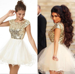 Wholesale Prom Dress For Plus Size - 2016 8th Grade Prom Homecoming Dresses Under 100 A Line White And Gold Sequins Short Party Dress For Girls Short Prom Dresses Custom Made