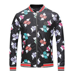 Wholesale Colorful Metal Collars - 2017 New design Germany brand mens colorful pattern metal badge stand collar zipper casual fashion bomber jakcet M-2XL NWT