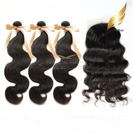 Wholesale Silk Base Brazilian Closures - Silk Base Closure With Hair Bundles 7A Brazilian Virgin Human Hair Weave Silk Base Closure Full Head Natural Color Body Wave Free Shipping